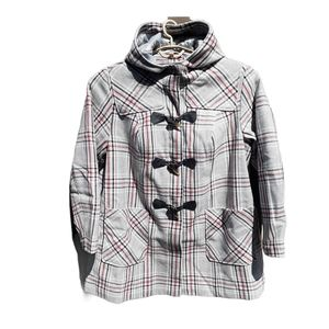 Woman Within Gray Plaid Wool Blend Toggle Coat